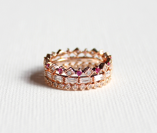 rose crown ring set(3types)로즈 왕관 반지
