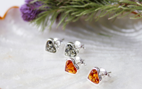 amber heart earring(2colors)호박석 하트 귀걸이