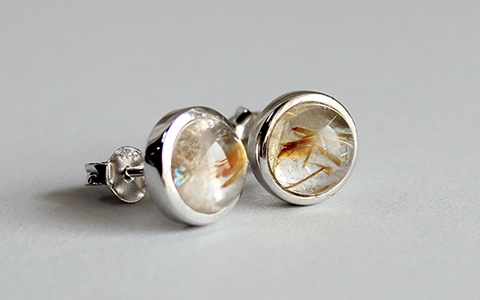 rutilated quartz circle earring침수정 써클 귀걸이