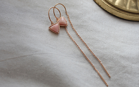 Rose conch shell chain earring로즈 콩크쉘 체인 귀걸이