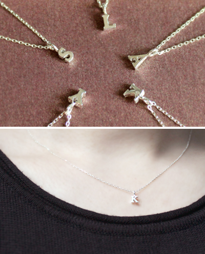 silver initial necklace실버 이니셜 목걸이