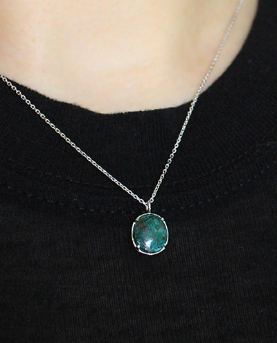 chrysocolla oval necklace크리소콜라 오벌 목걸이