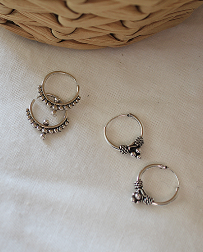 silver ethnic mini ring-earring(2types)실버 에스닉 미니 링귀걸이