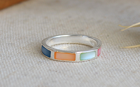 colorful mother pearl ring컬러풀 자개 반지
